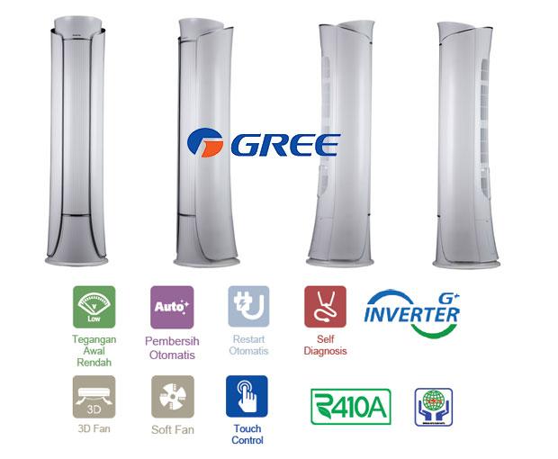 I-Crown Floor Standing AC 3PK Dari Gree Indonesia berteknologi kompresor inverter 2 tahap tampilan elegan desain futuristik
