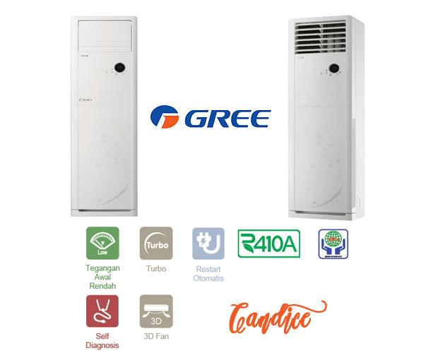 Candice Floor Standing AC 3-5PK Dari Gree merupakan AC untuk digunakan dirumah atau dikantor hemat listrik dan cepat dingin serta ramah lingkungan.