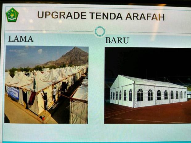 Fasiltas Tenda Anti Air Untuk Jamaah Haji 2017 Guna Ibadah Wukuf di Padang Arafah Terbuat dari Rangka Baja dan Bahan PVC (Polivinil Klorida) Berkualitas Tinggi