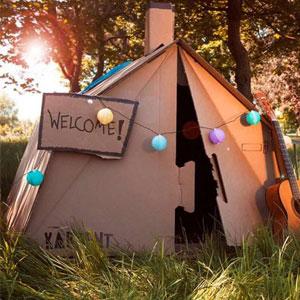 KARTENT Tenda berbahan kardus hasil daur ulang yang ramah lingkungan, Kuat dan anti air seperti tenda standar yang digunakan pada festival musik