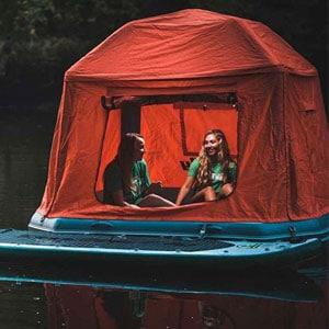 Shoal Tent tenda mengapung diatas air, Rakit tenda angin pertama didunia buatan Smithfly yang memungkinkan berkemah di sungai, laut, rawa, danau, dll.